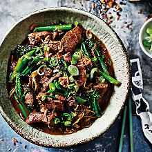 school of wok's flash-fried venison and broccoli with ginger and spring onion