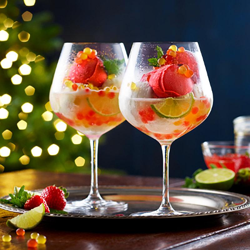 Strawberry & Limoncello Sorbet with Strawberry & Peach PopaBalls & Prosecco