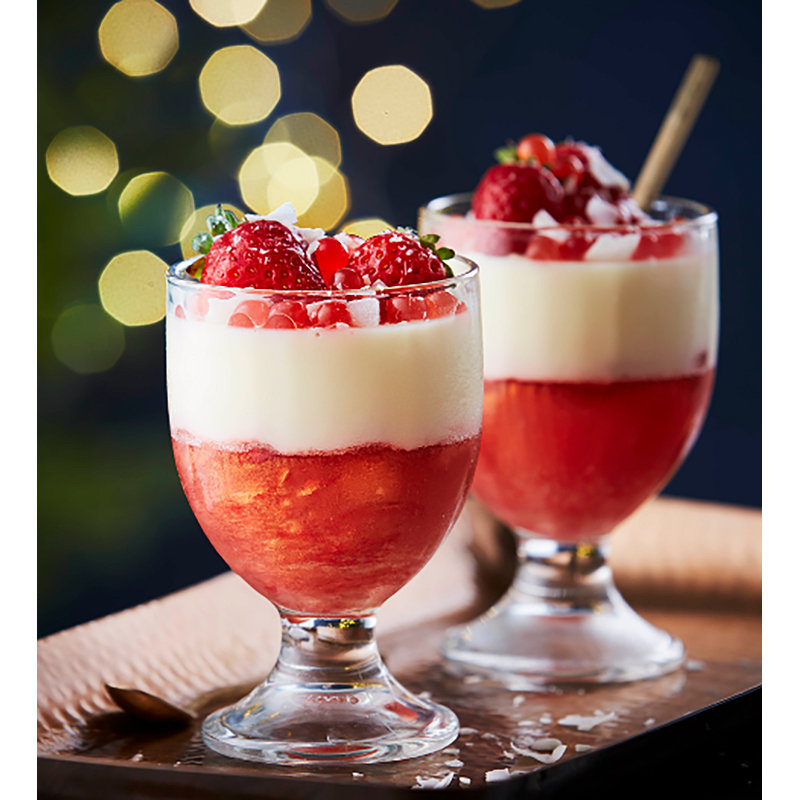 Shimmery Strawberry Jelly with Coconut Panna Cotta with PopaBall