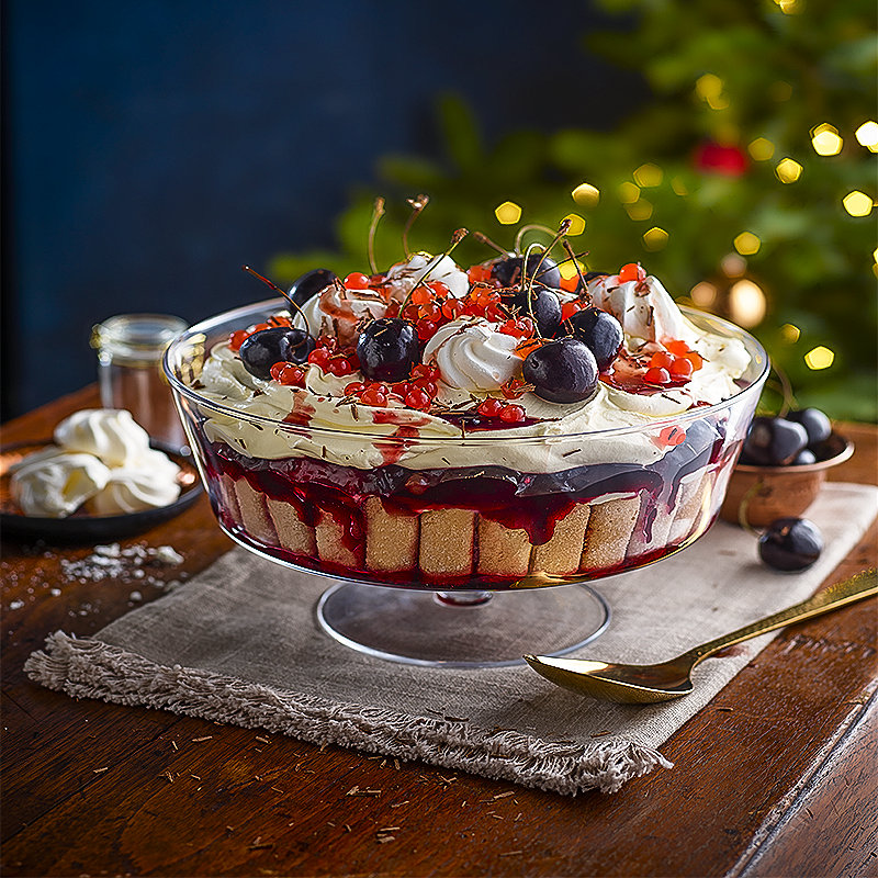 Black Cherry & Vodka Trifle Topped with Cherry PopaBalls