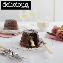 Dark and white chocolate melt-in-the-middle puds