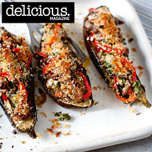 Sausage and herb stuffed aubergines