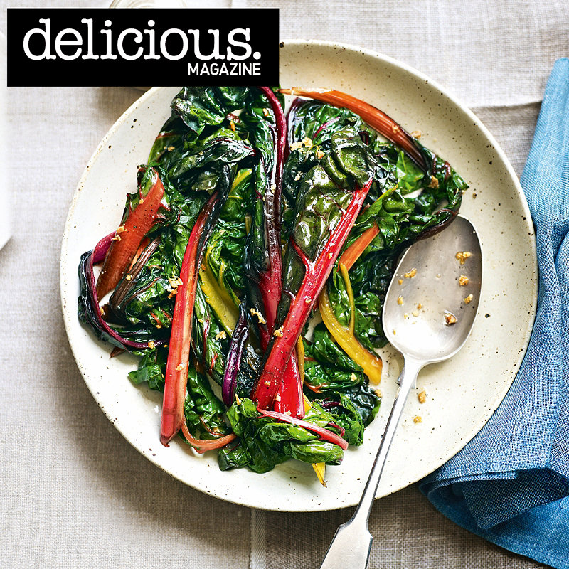 Wilted chard with butter and garlic recipe