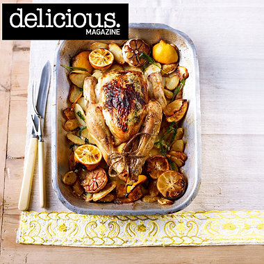 Roast lemony tarragon chicken with juicy new potatoes