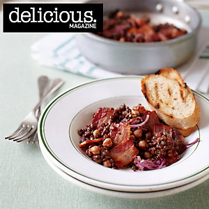 Lentil and bacon stew