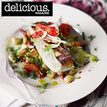 Crisp-skinned halibut with pancetta, potatoes and blood orange salad