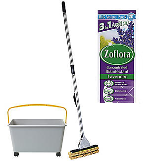 Squizzo Floor Mop  with Cleaning Bucket and Zoflora Bundle