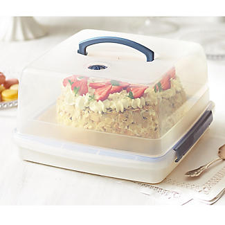 LocknLock Cake Carrier Caddy & Clear Lid - Square Holds 28cm Cakes alt image 2