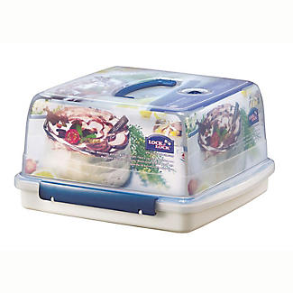 LocknLock Cake Carrier Caddy & Clear Lid - Square Holds 28cm Cakes alt image 4