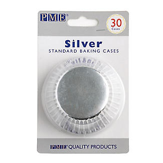 30 PME Greaseproof Cupcake Cases - Metallic Silver alt image 5