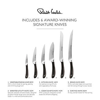 Robert Welch Signature Knife Block Sharpener and 6 Knives alt image 5