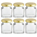 6 Square Mini Gifting Glass Jam Jars & Lids 130ml