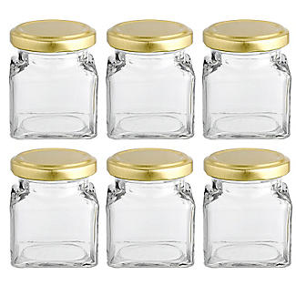 6 Square Mini Gifting Glass Jam Jars & Lids 130ml alt image 1