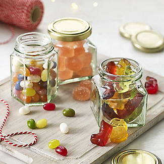 6 Square Mini Gifting Glass Jam Jars & Lids 130ml alt image 2