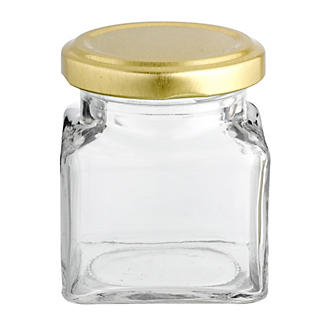 6 Square Mini Gifting Glass Jam Jars & Lids 130ml alt image 4