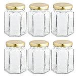 6 Hexagonal Mini Gifting Glass Jam Jars & Lids 110ml