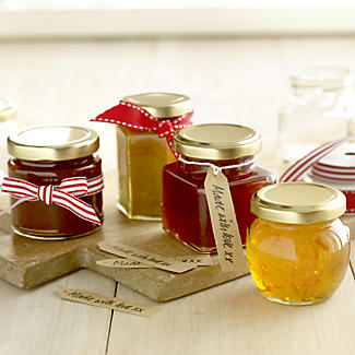 6 Hexagonal Mini Gifting Glass Jam Jars & Lids 110ml alt image 2