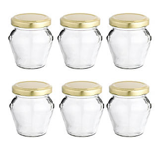 6 Orcio Mini Gifting Glass Jam Jars & Lids 106ml