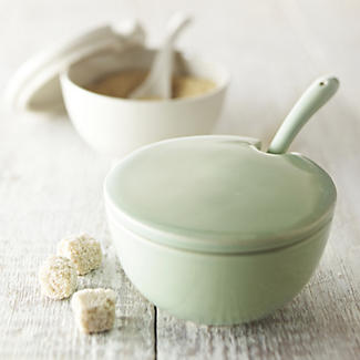 delicious. Ivory Sugar Bowl with Spoon alt image 1