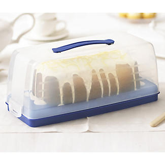 Cake Carrier Caddy & Clear Lid - Oblong Holds Swiss Rolls & Loaf Cake alt image 2