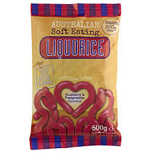 Australian Soft Eating Liquorice 500g Bag - Blueberry and Pomegranate