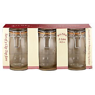 3 Kilner Round Clip Top Jars 1L