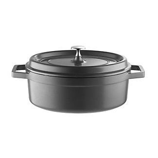 Lightweight Cast Aluminium 26cm Oval Casserole Grey with Lid