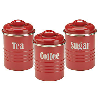 Typhoon Vintage Kitchen Red 3 Canister Set Lakeland
