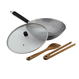 Typhoon® 35cm Carbon Steel Professional Wok Set