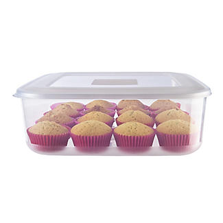 Airtight Clear Cake Storage Container & Lid - Square Holds 28cm Cakes