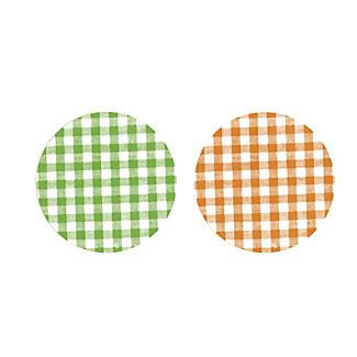 6 Green and 6 Orange Gingham Twist-Off Lids