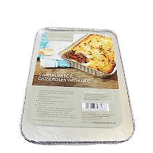 5 Foil Casserole Dishes with Lids 900ml