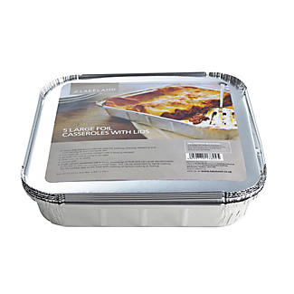 5 Disposable Foil Containers Casserole Dishes & Lids - 1.5L