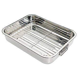Medium Stainless Steel Roaster and Rack alt image 1