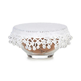 Lace Effect Beaded Food Bowl & Pot Cover - 13cm White alt image 4