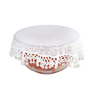 Lace Effect Beaded Food Bowl & Pot Cover - 22cm White