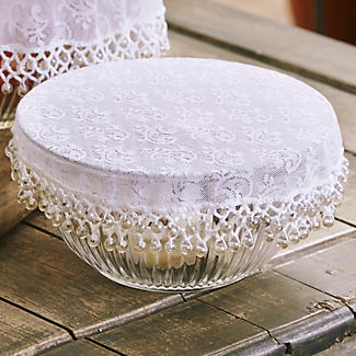 Lace Effect Beaded Food Bowl & Pot Cover - 22cm White alt image 2