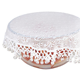 Lace Effect Beaded Food Bowl & Pot Cover - 22cm White alt image 3
