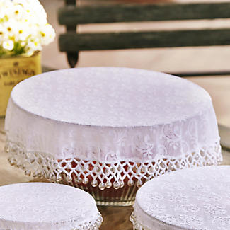 Lace Effect Beaded Food Bowl & Pot Cover - 32cm White alt image 2