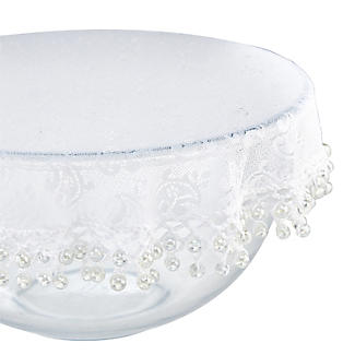 Lace Effect Beaded Food Bowl & Pot Cover - 32cm White alt image 3
