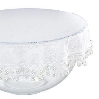 Lace Effect Beaded Food Bowl & Pot Cover - 32cm White alt image 3