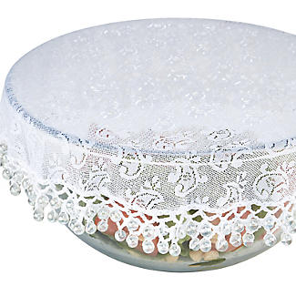 Lace Effect Beaded Food Bowl & Pot Cover - 32cm White alt image 5