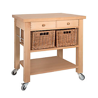 Eddingtons Two Drawer Lambourn Trolley With Solid Beech Top alt image 2