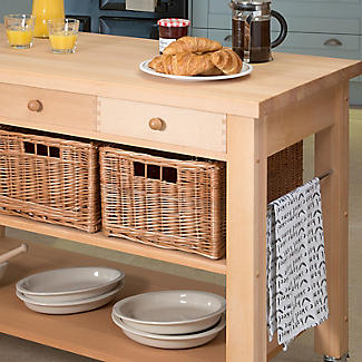 Eddingtons Two Drawer Lambourn Trolley With Solid Beech Top alt image 3