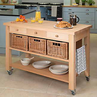 Eddingtons Three Drawer Lambourn Trolley With Solid Beech Top alt image 2