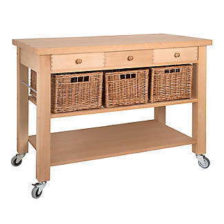 Eddingtons Three Drawer Lambourn Trolley With Solid Beech Top alt image 3