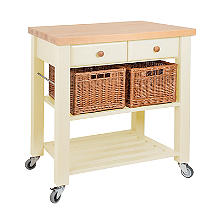 Eddingtons Two Drawer Cream Lambourn Trolley With Solid Beech Top