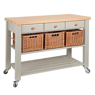 Eddingtons Three Drawer French Grey Lambourn Trolley Beech Top alt image 1