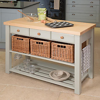 Eddingtons Three Drawer French Grey Lambourn Trolley Beech Top alt image 2