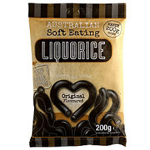 Australian Soft Eating Liquorice 200g Bag - Black